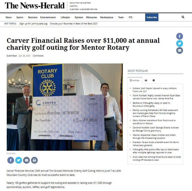 Carver Financial donates $11,000 to Mentor Rotary